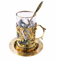 Набор чайный литьё Виктория ложка ,тарелка,хрусталь.