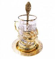 Набор чайный литьё Рак ложка ,тарелка,хрусталь.