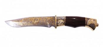 Нож сув дамаск Бриз ножны из кожи (позолота) - купить (заказать), узнать цену - Охотничий супермаркет Стрелец г. Екатеринбург