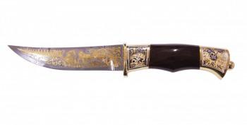 Нож дамаск сувенирный Гюрза ножны из кожи (позолота) - купить (заказать), узнать цену - Охотничий супермаркет Стрелец г. Екатеринбург