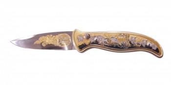 Нож сувенирный складной с кнопкой (автомат) позолота - купить (заказать), узнать цену - Охотничий супермаркет Стрелец г. Екатеринбург