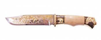 Нож ЭИ-107 сувенирный Тайга ножны из кожи (позолота) - купить (заказать), узнать цену - Охотничий супермаркет Стрелец г. Екатеринбург