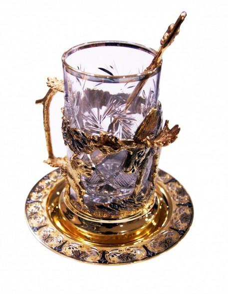 Набор чайный литьё Лось ложка/тарелка/хрусталь - купить (заказать), узнать цену - Охотничий супермаркет Стрелец г. Екатеринбург